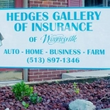 Hedges of Gallery Insurance sign
