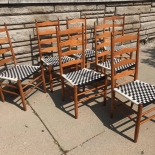many chairs with checked cane seats