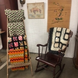 rocking chair and quilt rack